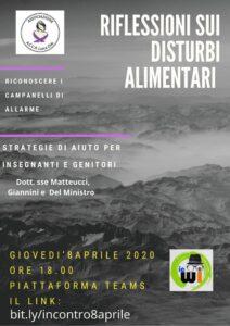 "Locandina Conferenza ""Riflessioni sui disturbi alimentari"" 8 aprile 2021"